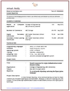 Format Curriculum Vitae Simple Resume Format Pdf  Simple Resume Format  Pinterest