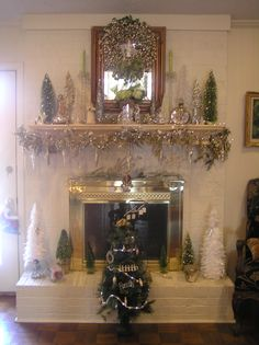 Fireplace decorated for the season