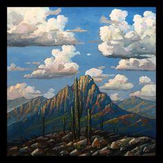 FRAMED Painting Impressionism  HAWKINS original on Canvas Western America Southwest Craftsman Mission Arts & Crafts Tonalist