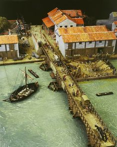Reconstruction model of the port of Londinium. This model was based on recent archaeological excavations along Lower Thames Street and shows the busy waterfront at Londinium at c. AD100.