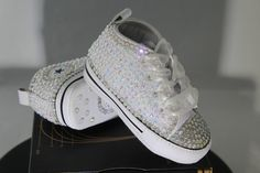 Baby- Infant- Baptism- Christening- Custom Converse- Crystal  Pearl Studded  Shoes 6d663c0a8b06