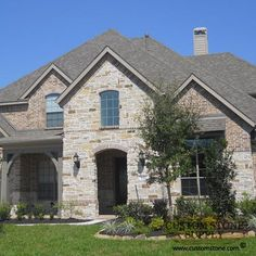 image stone and brick exterior french country home   Custom Stone Supply - Houston, Dallas, Fort Worth Austin and San