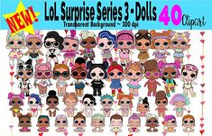 This listing is for an INSTANT DOWNLOAD of the Clipart New 2018 ~ LOL SURPRISE SERIES 3 - Dolls Confetti Pop CLIPART This listing is perfect for crafters, designers and decorators that are looking for premade works. Well suited for scrapbooking, creating stickers, create own