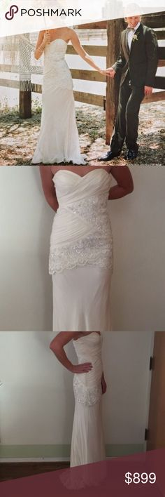 Nicole Miller Wedding Gown Dress This is a stunning Boho wedding dress by Nicole Miller.  Amazing beading and lace. No sale tags attached. Purchased at a sample sale but never wore it Nicole Miller Dresses Wedding
