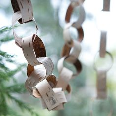 Curled Birch Garland from Terrain. What if I use birch bark printed paper? Woodland Christmas, Rustic Christmas, Winter Christmas, Christmas Holidays, Christmas Decorations, Xmas, Christmas Ornaments, Christmas Ideas, Christmas 2019