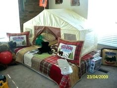 A camping theme boy's room! would love to update lucas to this camping room. have the throw pillow, lantern,stuffed bear already Boys Bedroom Themes, Big Boy Bedrooms, Kids Bedroom, Bedroom Ideas, Kid Rooms, Camping Bedroom, Camping Hammock, E Room, Bed Tent