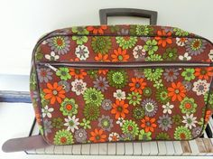 1960's, Small, Flower Power, Fabric Suitcase, Carry-on Luggage - http://oleantravel.com/1960s-small-flower-power-fabric-suitcase-carry-on-luggage