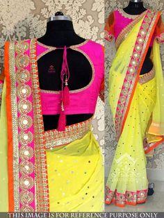 Nice saree -https://www.cooliyo.com/product/99095/yellow-multy-work-georgette-bollywood-designer-saree/