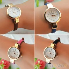 Women Ladies Candy Color Fashion Thin Leather Strap Quartz Bracelet Wrist Watch  2K8F
