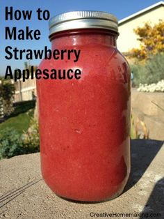 How to make homemade strawberry (or any flavor) applesauce to eat, can, or freeze.