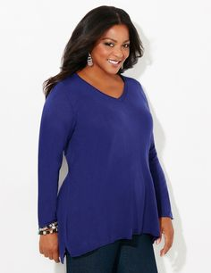 Soft Sensation Sweater | Catherines  Cozy up to our sumptuously soft sweater in versatile colors for every day of the week. You'll love the cashmere-like fabric that is smooth to the touch. V-neckline. Long sleeves. Hi-low hem with side slits. Catherines tops are designed for the plus size woman to guarantee a flattering fit. #catherines #catherinesplus #plussize #plussizefashion #sweaterweather