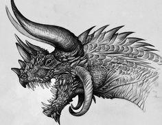 Dragón con cornamentas