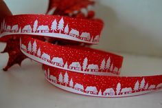 4m Bertie's Bows Christmas Village Red Grosgrain Ribbon: Amazon.co.uk: Kitchen & Home