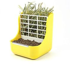 Details about Steel-Edged 2in1 Food/Forage Grass Bowl For Rabbits/Guinea Pigs/Chinchillas