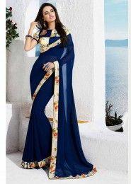 Party Wear Georgette Blue Lace Border Work Saree