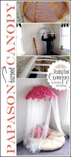 A papasan chair reworks into a reading nook canopy. (I wonder if you could substitute a mini basket for the papasan chair and make a fairy nook. My New Room, My Room, Ideas Dormitorios, Papasan Chair, Ideias Diy, Diy Décoration, Diy Crafts, Easy Diy, Little Girl Rooms
