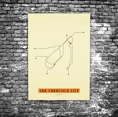 San Francisco C6 - Acrylic Glass Art Subway Maps (Acrylglas, Underground) Retro