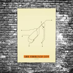 San Francisco C6 - Acrylic Glass Art Subway Maps (Acrylglas, Underground) Retro