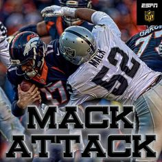 Five sacks by Mack give him 14 for the season, most in the NFL.