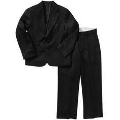 George Boys' Satin Stripe Suit, Size: 6, Black