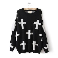 CROSS SWEATER ($39) ❤ liked on Polyvore featuring tops, sweaters, shirts, black, long sleeve sweater, shirt sweater, long-sleeve shirt, extra long sleeve shirts and long sleeve tops