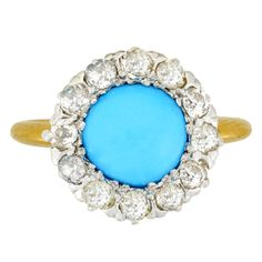 1stdibs - Edwardian Turquoise Diamond Cluster Ring explore items from 1,700  global dealers at 1stdibs.com