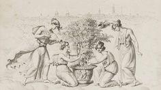 """Vor der Silhouette Berlins pflegen vier Genien die weiße Rose, die Lieblingsblume von Charlotte von Preußen. Die Lithographie fertigte Julius Schoppe 1829 nach Entwürfen von Schinkel. Das Blatt ist das zweite aus der Serie von neun """"Lebenden Bildern"""", die zusammen auf 1200 Euro taxiert sind."""