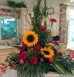 Sunflowers and carnations