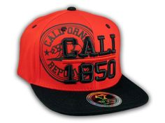 This is a High Quality California Republic 1850 Red Flat Bill Snapback Hat from Top Level. It has Embroidered Cali 1850 in on the Front! With California Republic & Bear in Print! Embroidered California State on the Side! And a California Bear! California Bear, California Republic, Flat Bill Hats, Hip Hop Hat, Red Flats, Snapback Cap, Baseball Hats, 3d, Free Shipping
