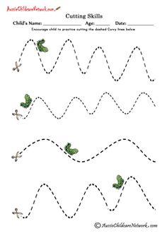 cutting curvy lines worksheets // Ficha para cortar con tijeras