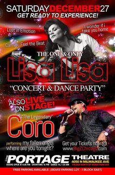Lisa Lisa & Coro live dec 27th at the portage theater.