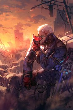 "Soldier: 76 by einlee | ""I was super excited to be commissioned by Blizzard to draw a character from Overwatch! I was really drawn to Soldier 76's back story, one of such loss and disillusionment. Instead of his usual guns-blazing badass look, I tried to capture something more poignant and evocative: a moment of repose after a long day."" —einlee"