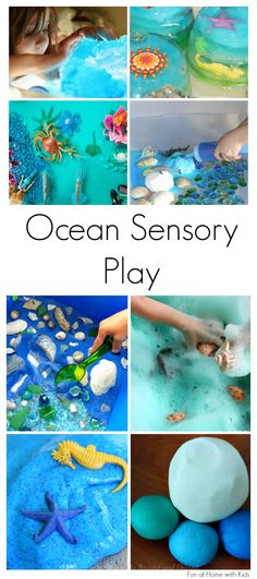 15 of the best ideas for Ocean-themed Sensory Play. Includes ideas for babies, toddlers, and older children. From Fun at Home with Kids Lol just pinned them individually A kindred spirit, I see! Plus there look to be more activities for our AC in Sensory Boxes, Sensory Table, Sensory Play, Ocean Activities, Learning Activities, Preschool Activities, Beach Theme Preschool, Preschool Learning, Ocean Themes