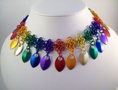 Pride jewelry chainmaille necklace rainbow by Eternalelfcreations, $30.00