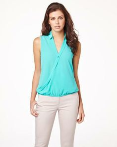 Sleeveless cross-front blouse RW&CO. I love this outfit Teal Shirt, Beige Pants, Shopping Spree, Spring Fashion, Summer 2014, Blouse, My Style, How To Wear, Colour