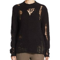 3.1 Phillip Lim Black Longsleeve Needle Lace Pullover Intarsia Sweater