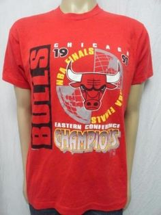f79f2a24e VTG SCREEN STARS 1991 NBA CHICAGO BULLS EASTERN CHAMPIONS PRINTED T SHIRT  SZ XL
