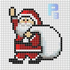 Santa Claus Christmas perler pattern - Patrones Beads / Plantillas para Hama