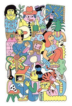 Seasonal illustrations for the Walker Art Center
