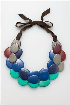 Get the look at Everything But Water! http://www.everythingbutwater.com/accessorize/browse/products/andean-collection/necklaces/50191+fishscale+516.html $98