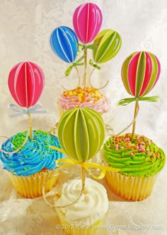 Free printable balloon birthday cake and cupcake toppers