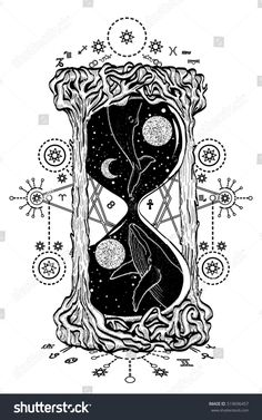 Hourglass tattoo. Whales swim in the hourglass tattoo art, mystic time symbol. Whale dives into space hourglass tattoo vector. Mysticism, spirituality, astrology