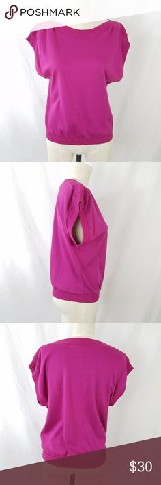 Vintage Pink Fuscia Top ✴20% OFF BUNDLES OF 3 OR MORE✴ Renee Tener for Jeanne Pierre Short flutter sleeve Bateau neckline 100% cotton  Vintage size Medium - current size Small Good vintage condition tiny - small snag on left shoulder and faint fading/discoloration on front  (see pics)  PLEASE READ CLOSET INFO AND POLICIES POST Vintage Tops