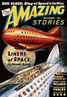 Vintage Sci Fi Poster Amazing Stories Liners Of Space