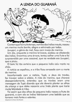 Atividade De Folclore A Lenda Do Guarana Texto Com Interpretacao