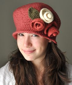Ruby  Crochet Hat, Cloche Hat with Sienna Rose and White Felted  Roses, Falpper Christmas Crochet Hat