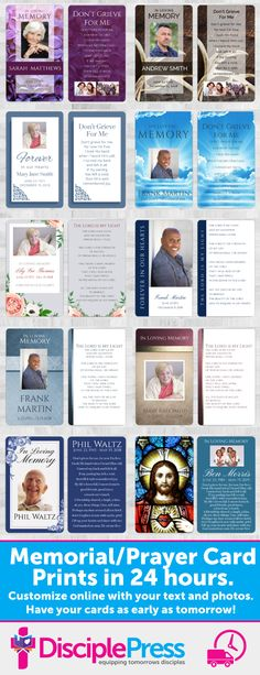 Choose from our selection of memorial prayer cards and customize them with your own text and photos. We'll print and ship in 24 hours or less. Memorial Cards, Funeral Memorial, Spiritual Warfare Prayers, Grief Poems, Funeral Cards, Funeral Planning, In Memory Of Dad, Bible Verses, Scriptures