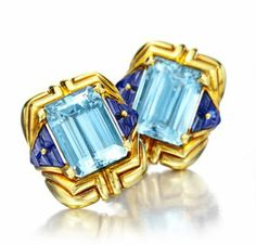 Bulgari Rings | ... of Aquamarine and Buff-top Sapphire Ear Clips, by Bulgari, circa 1989