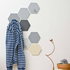 Hexagon Wall Hooks Set With S Fixed Coat Hook Natural Gray Entryway