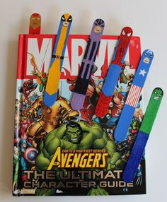 Superhero bookmarks out of popsicle sticks!